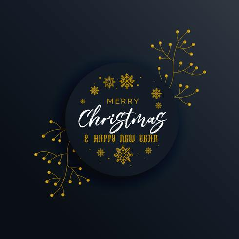 dark merry christmas premium greeting design with decorative ele