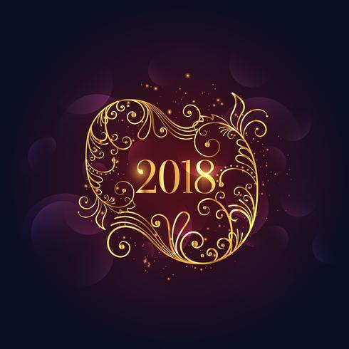 premium golden floral happy new year 2018 background download free