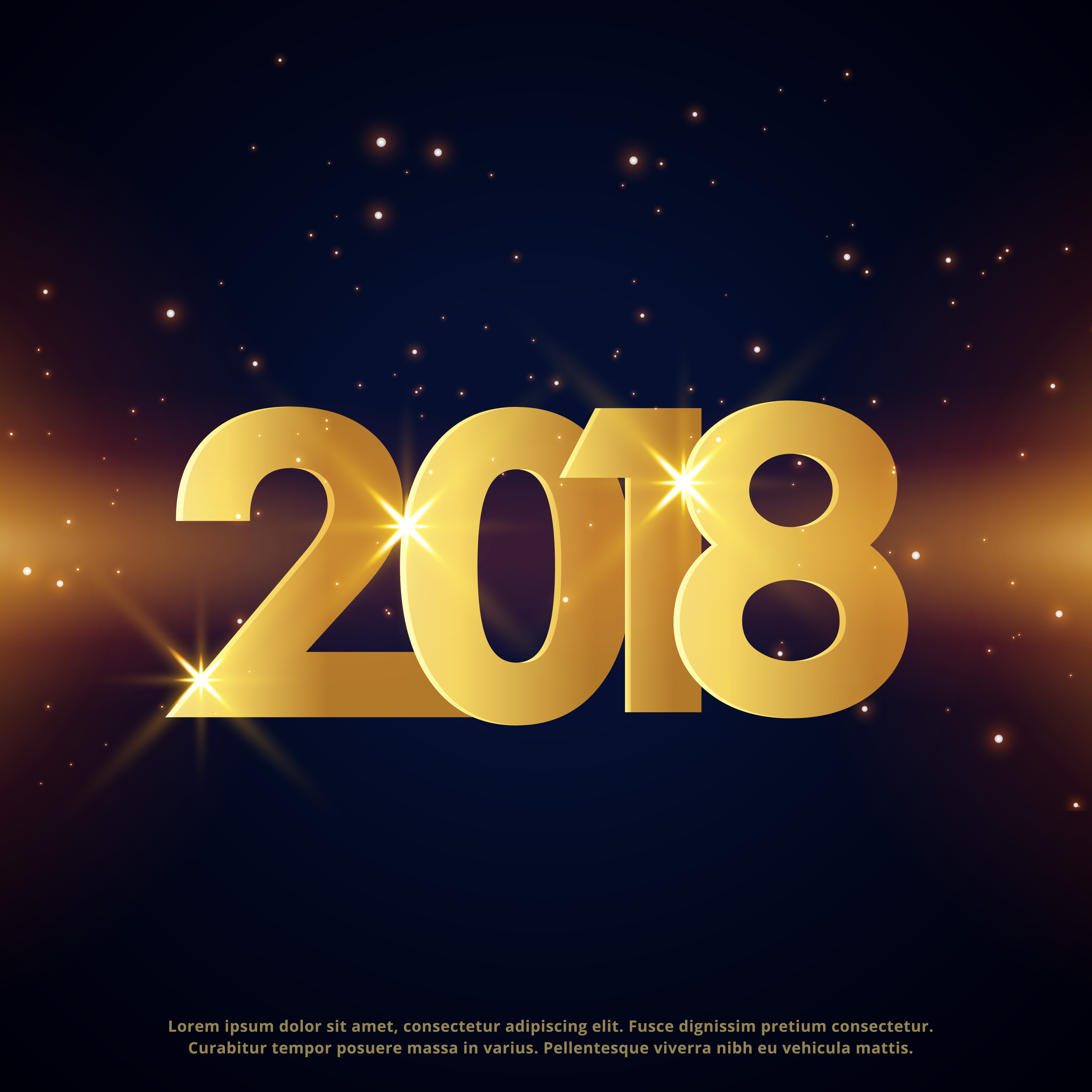 Premium Happy New Year 2018 Greeting Card Golden Design Download