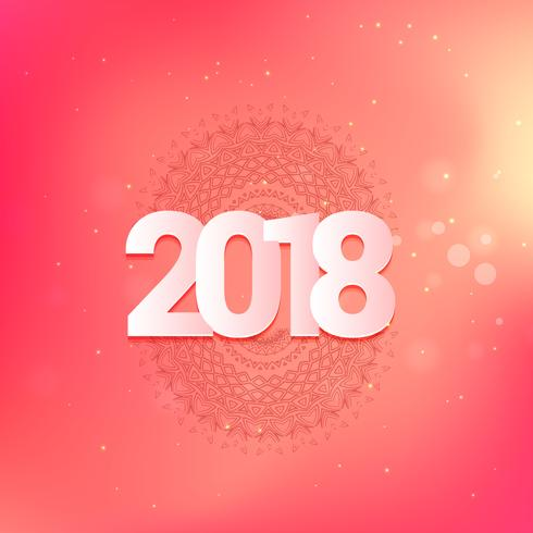 christmas and happy new year 2018 greeting card design in pink c