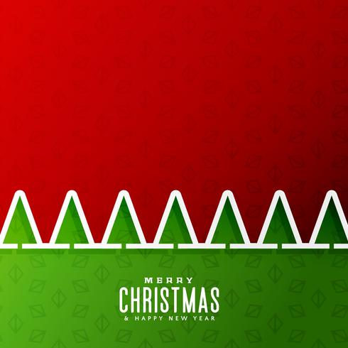 merry christmas background with tree in paper cut style