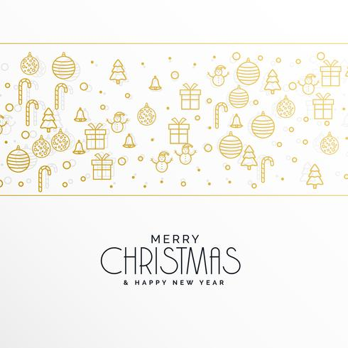 stylish merry christmas greeting with xmas icons