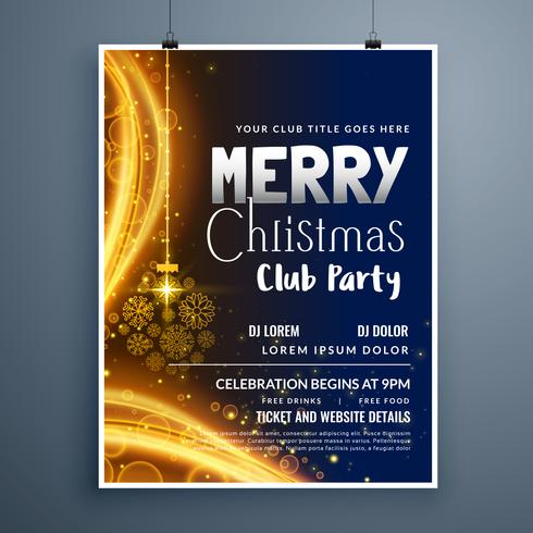 awesome christmas party poster template design with hanging snow