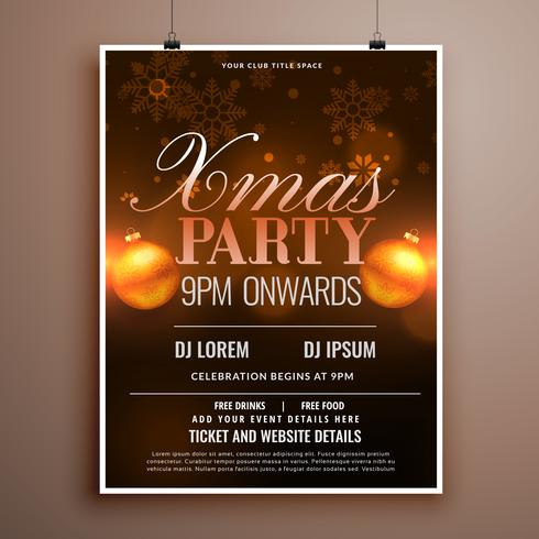 christmas flyer design card template with balls and snowflakes
