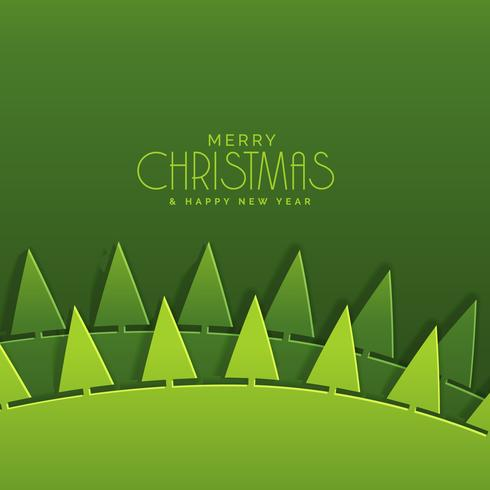 greeting for merry christmas festival in paper cut style green c