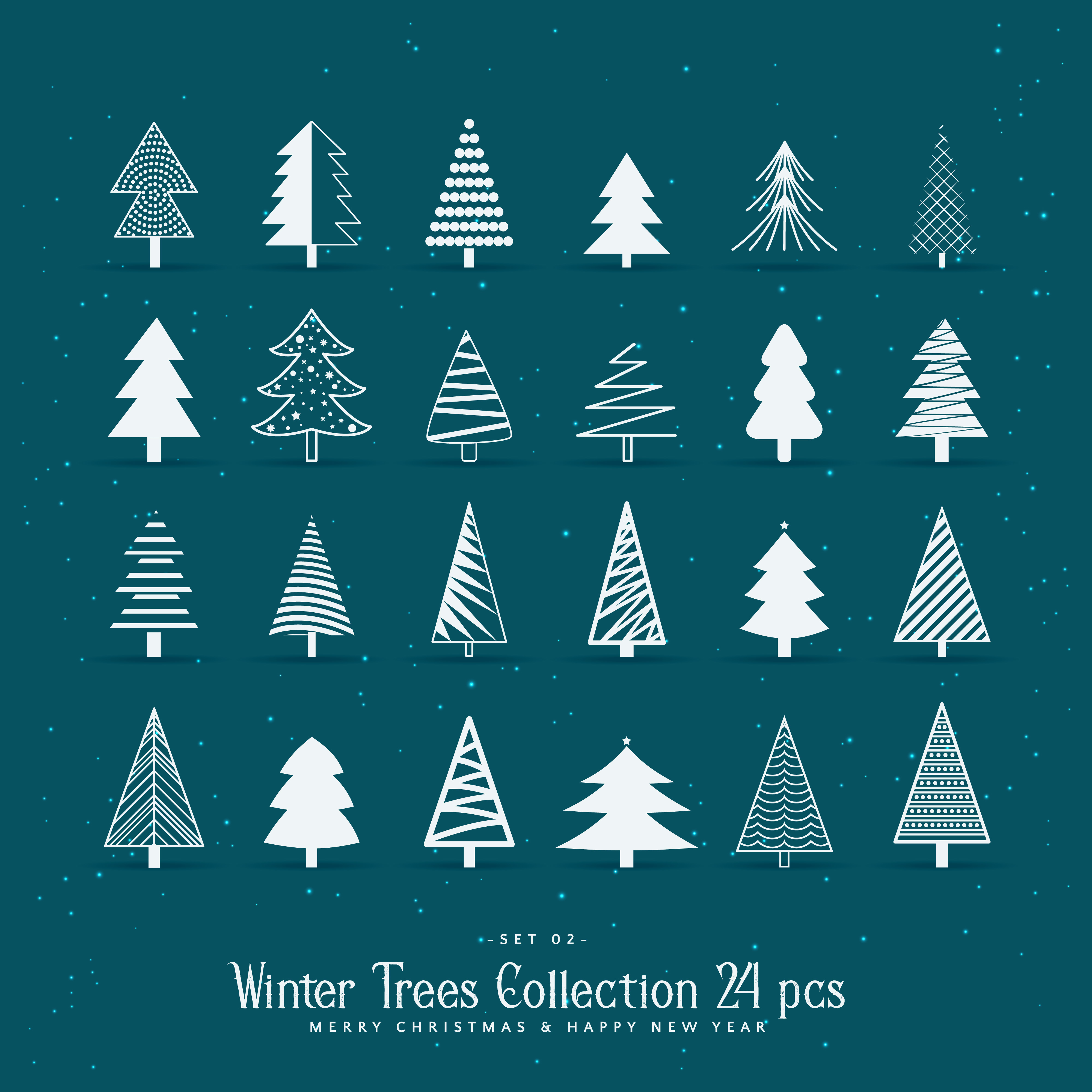 set of 20 creative christmas tree designs Download Free Vector Art