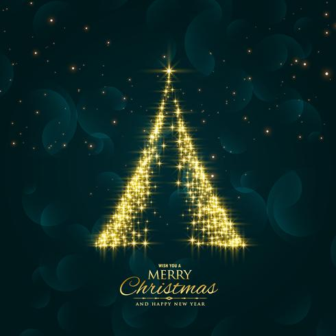shiny sparkles christmas tree design vector background