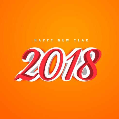 3d new year 2018 creative text design