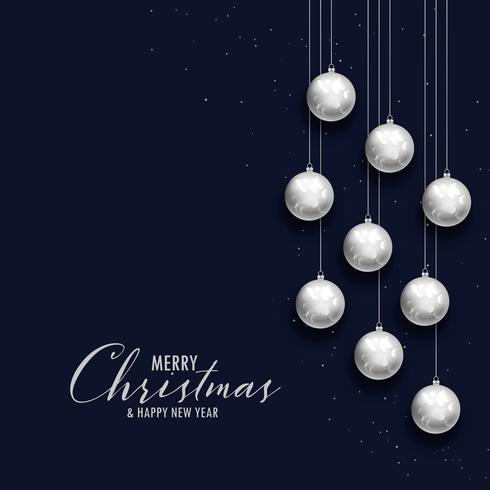 feliz natal saudação escura com bolas de prata xms