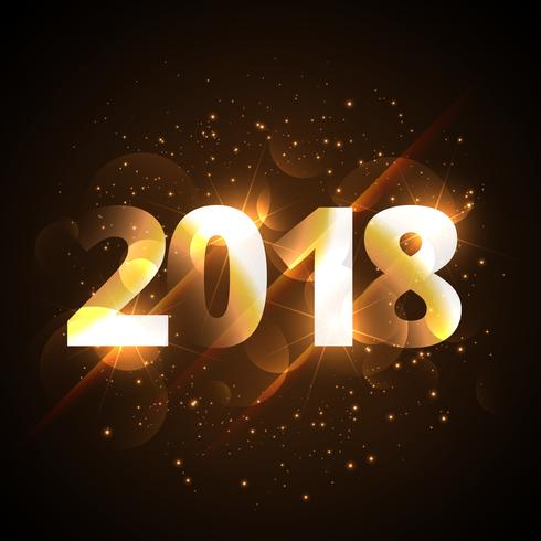 creative shiny happy new year 2018 golden background with sparkl