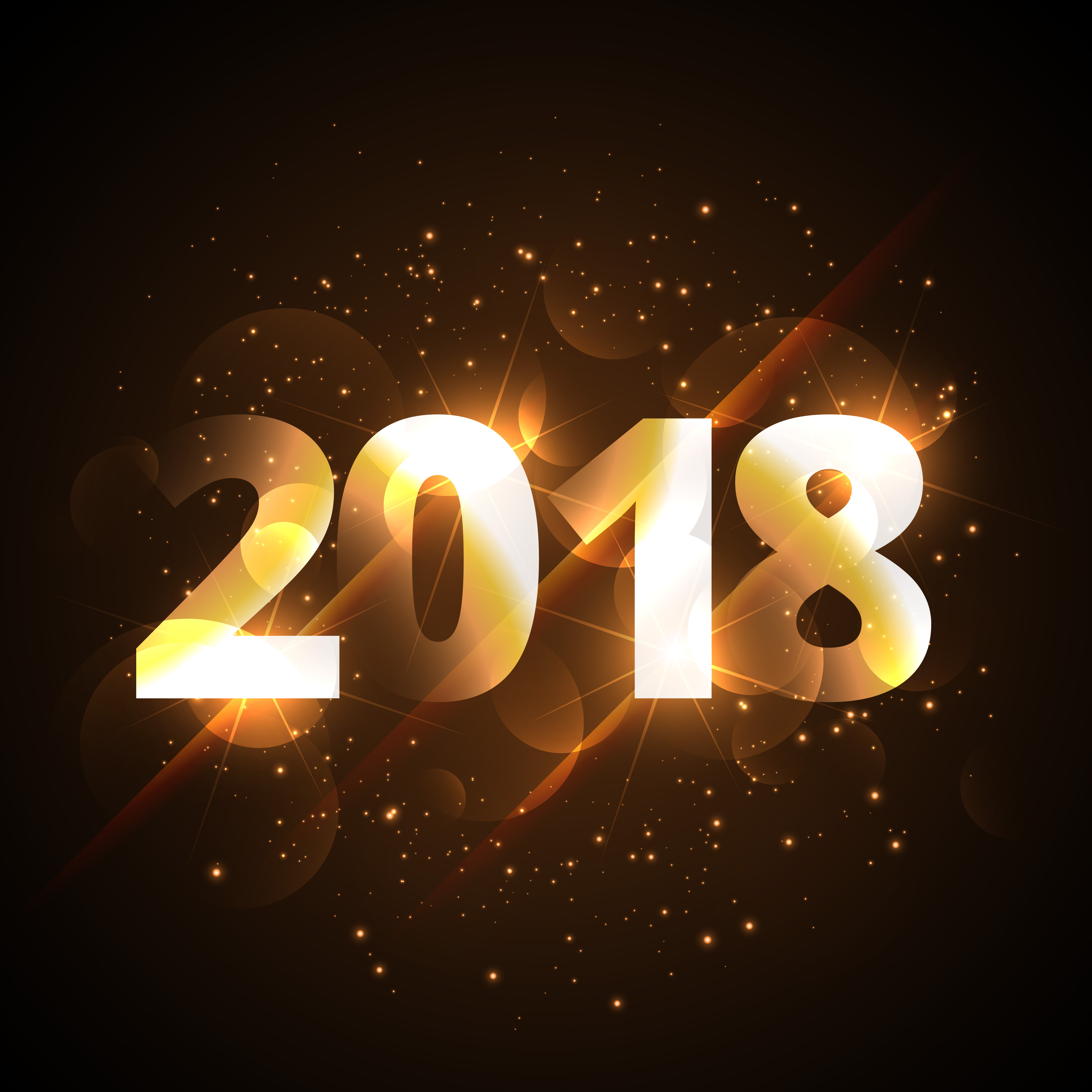 creative shiny happy new year 2018 golden background with sparkl download free vector art stock graphics images