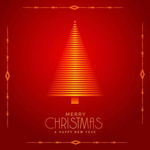 red background with beautiful christmas tree illustration