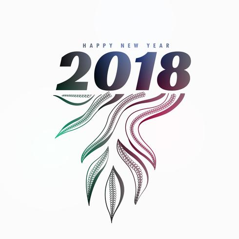 2018 new year poster design with organic style design element ...