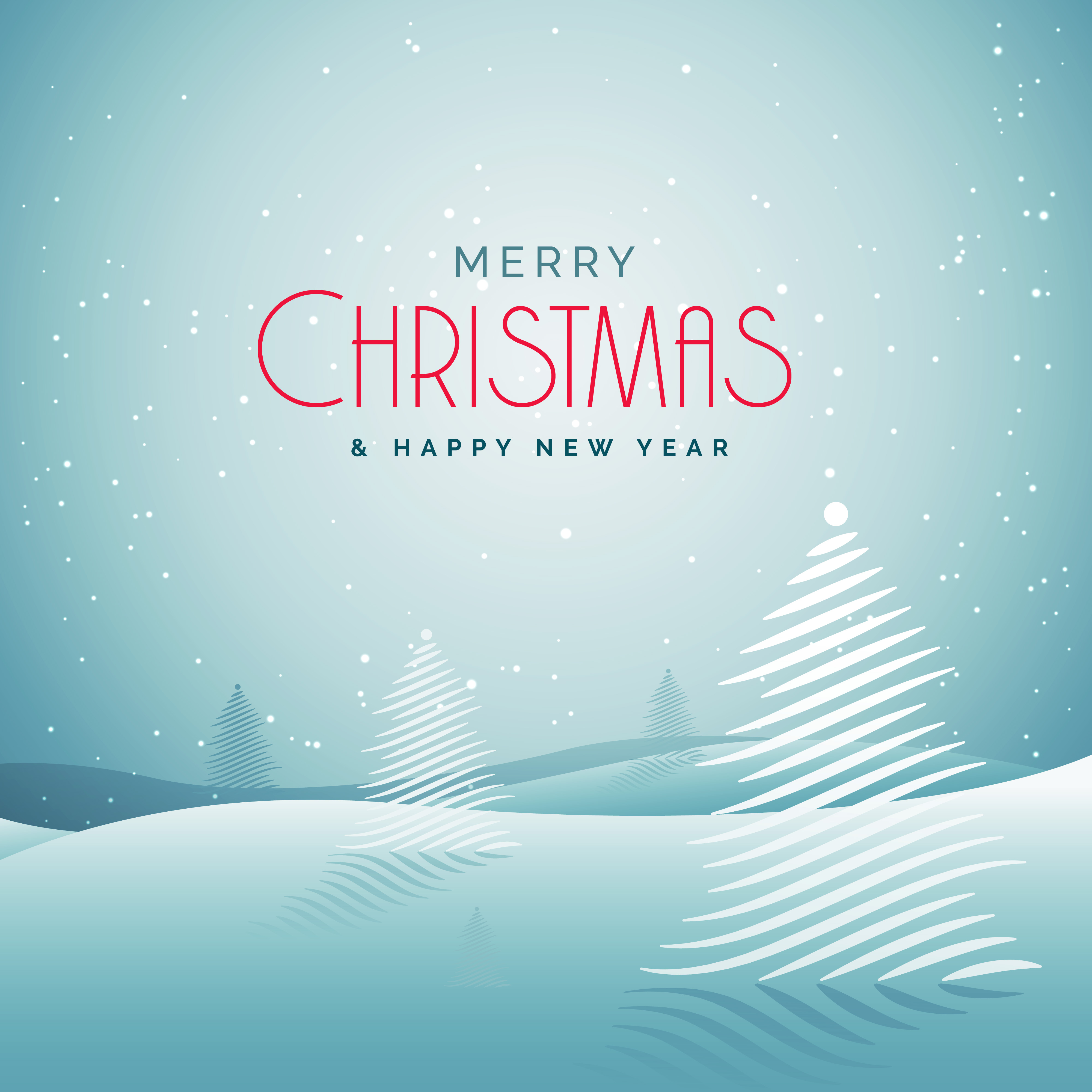 Elegant Christmas Greeting Card With Snow And Creative