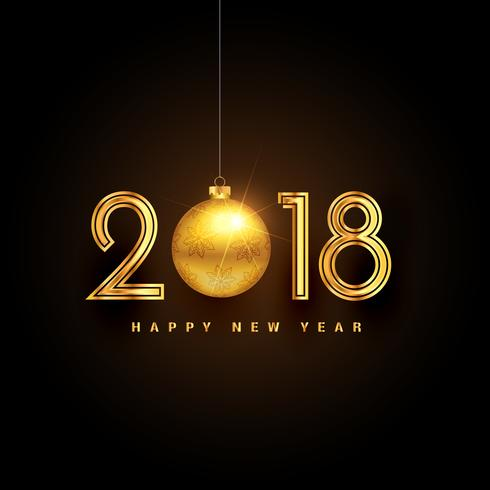 golden 2018 happy new year premium background design