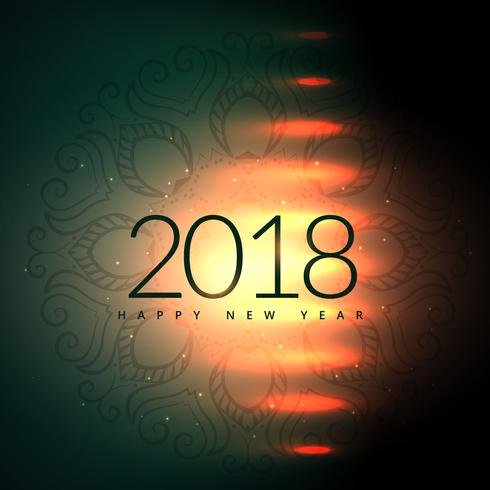 2018 happy new year design with light effect