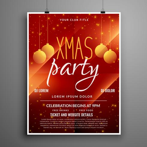 abstract red christmas party event flyer design template