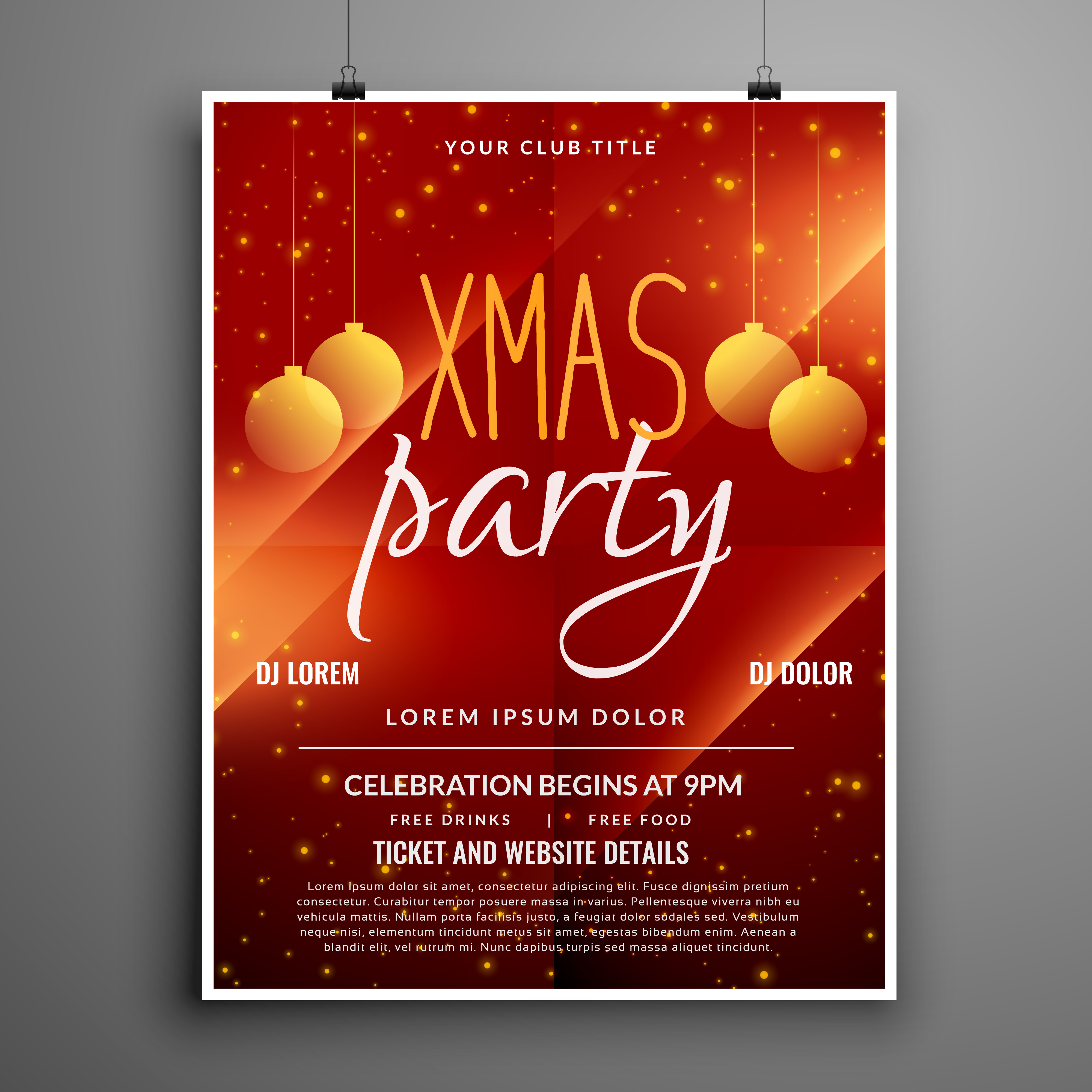Abstract Red Christmas Party Event Flyer Design Template Download