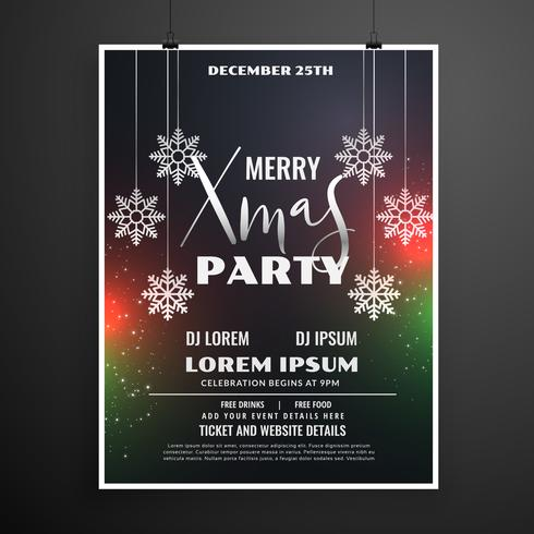 christmas celebration party flyer template design in dark theme