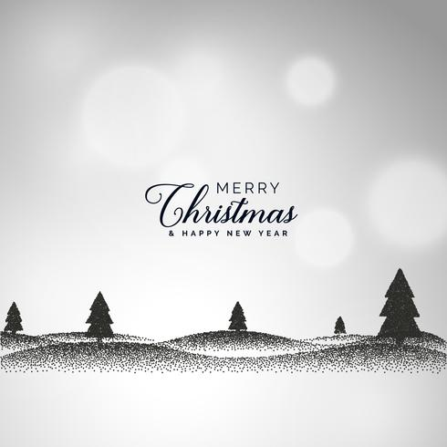 creative christmas background with landscape scene made with dot