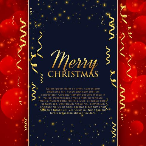 merry christmas celebration greeting with golden confetti and gl