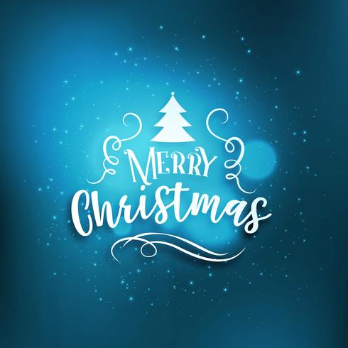 blue merry christmas greeting background with glow effect