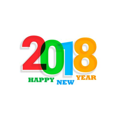 colorful 2018 text new year background