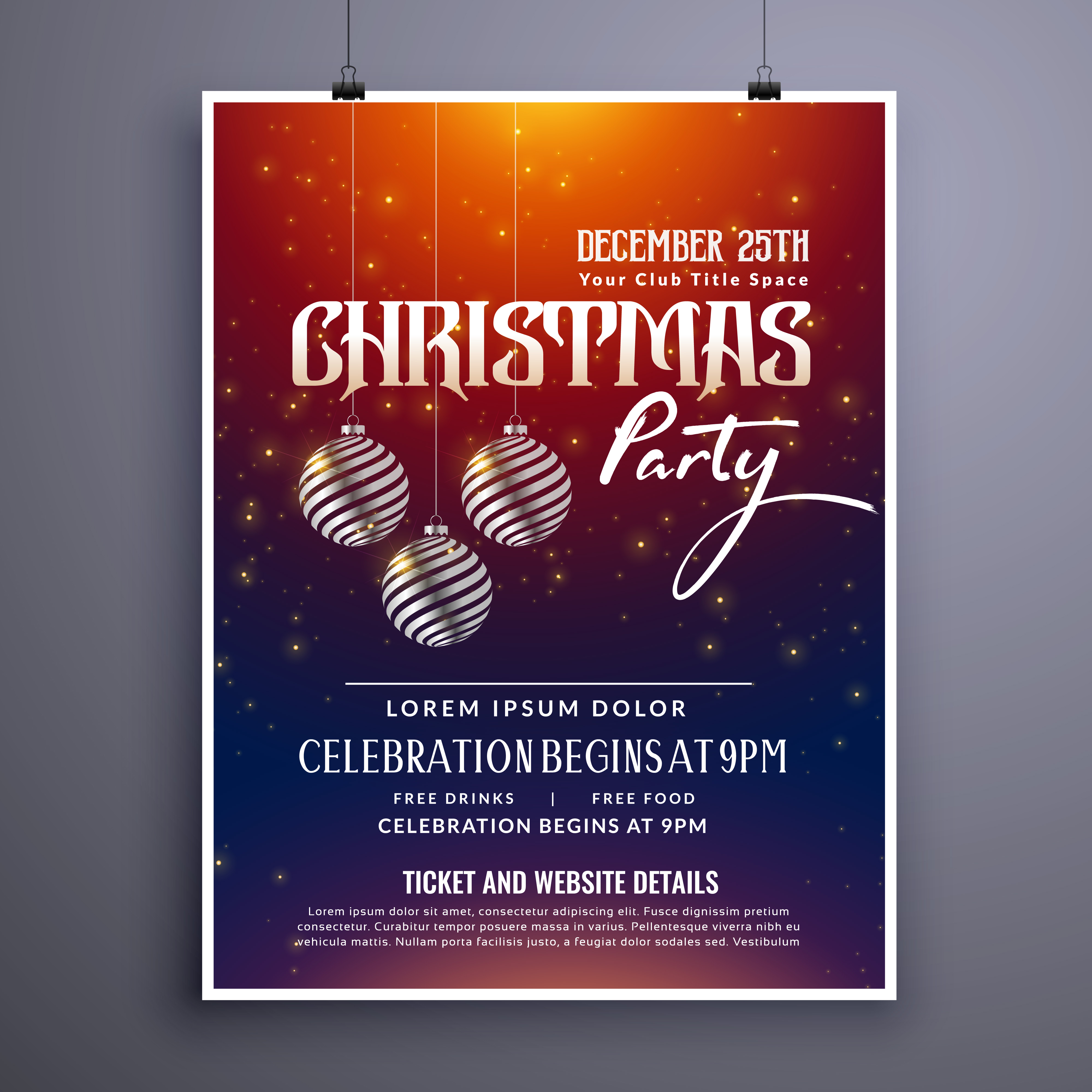 christmas party invitation template design with hanging balls ...