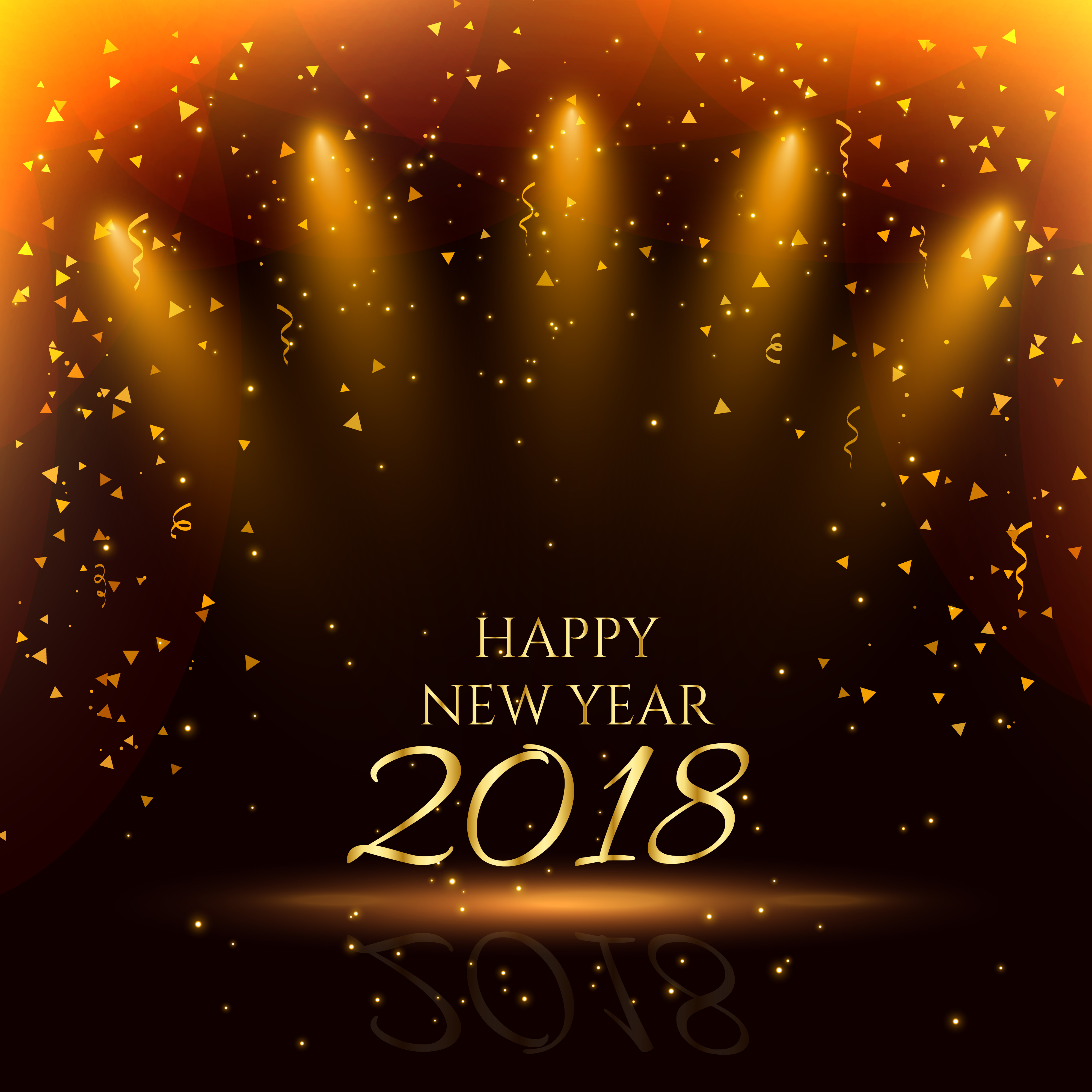 happy new year party background with golden confetti - Download Free Vector Art, Stock Graphics ...