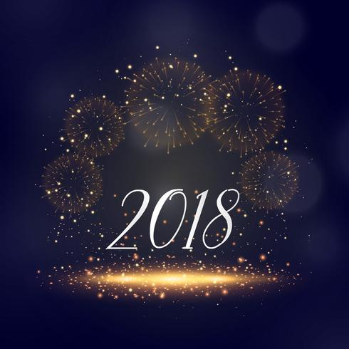 2018 new year sparkles and fireworks background greeting