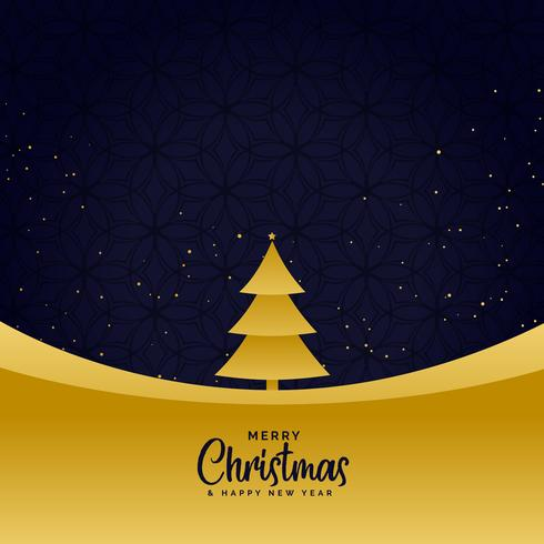 minimal golden merry christmas greeting background
