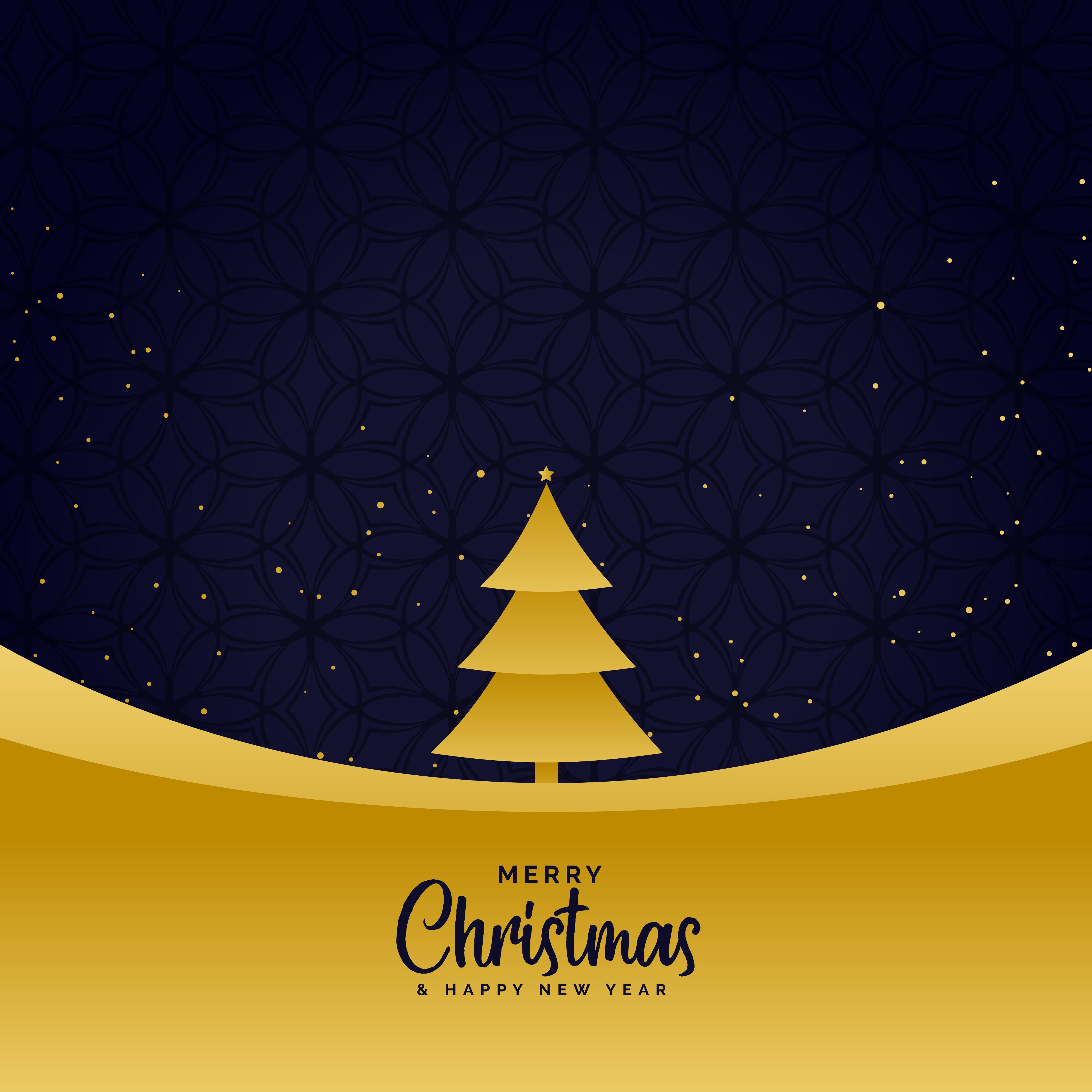 Minimal golden merry christmas greeting background for Minimal art vector