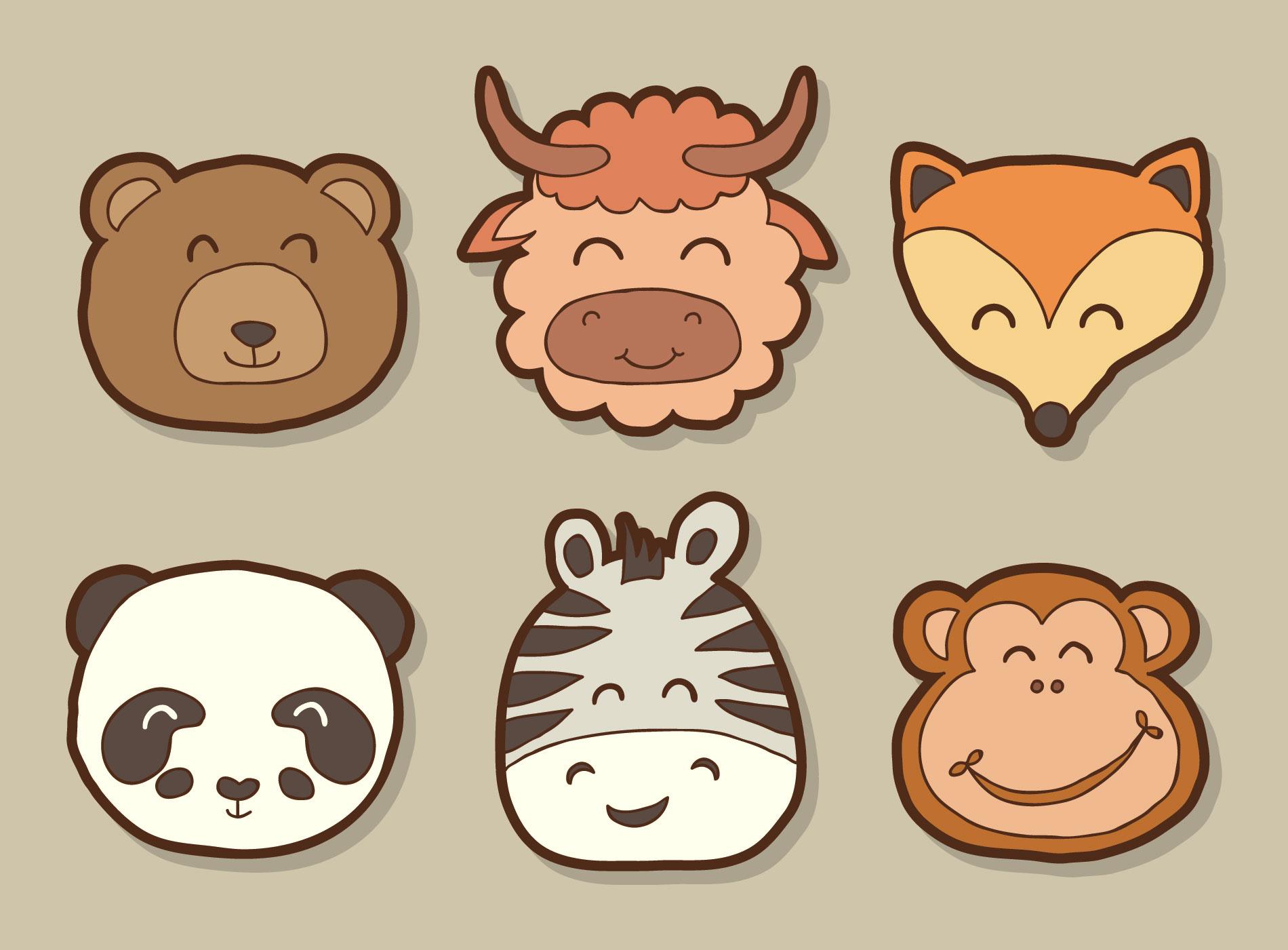 Hand Drawn Wild Animal Face Vector - Download Free Vectors ...