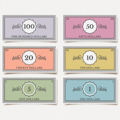 Dinero de muestra retro para colección de símbolo de pago vector