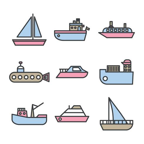 Outlined Boats and Trawler Vectors