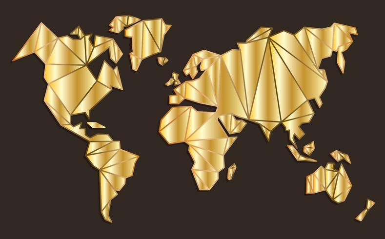 Golden Global Maps Vector