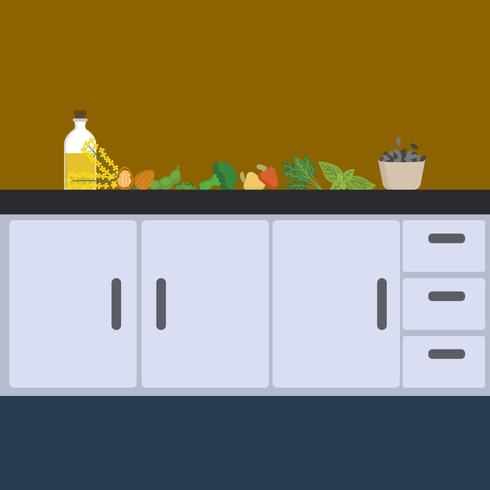 Flat Food on Counter Vector