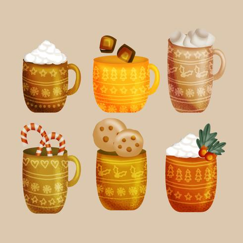 Vector Hand Drawn Hot Chocolate Cups