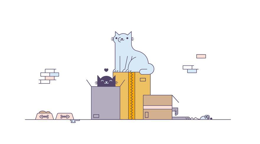 Gatos gratis jugando vector