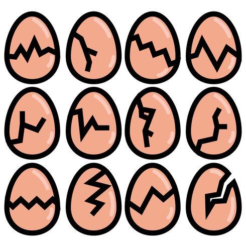 Conjunto de ícones de Broken Broken Egg