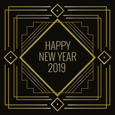 Happy New Year in Art Deco Style