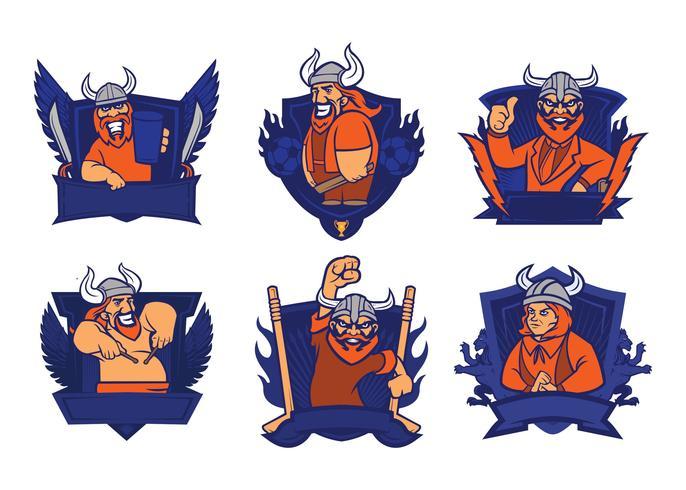 Vikign Badge Mascot Vector