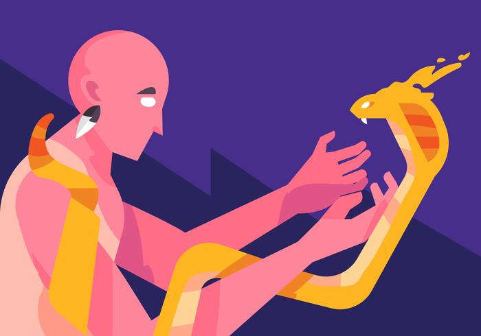 Shaman och orm vektor