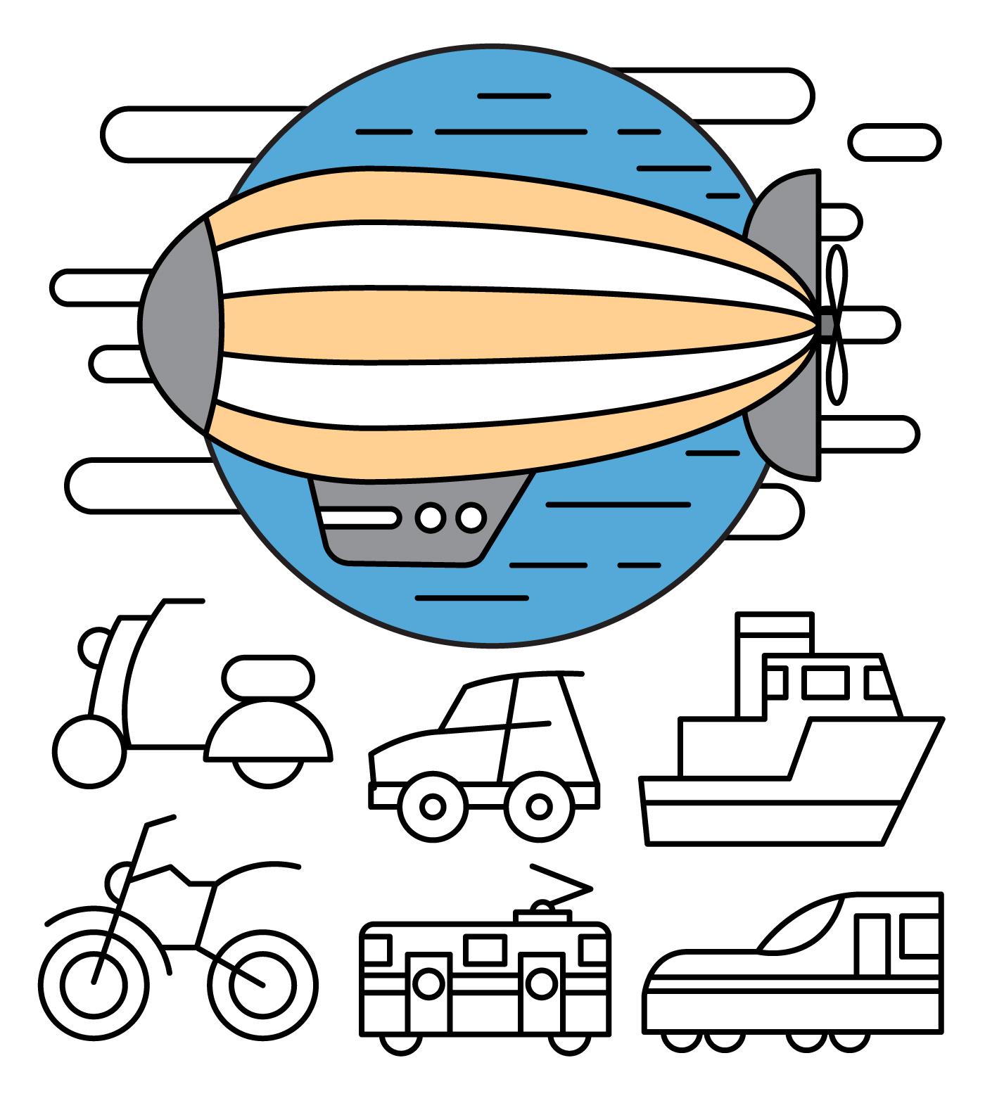 Minimal transportation icons download free vector art for Minimal art vector