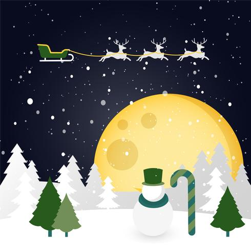 Free Flat Design Vector Christmas Winter Landscape