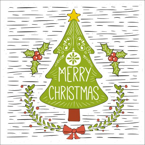 Christmas Tree Illustration.Free Hand Drawn Vector Christmas Tree Illustration Stock