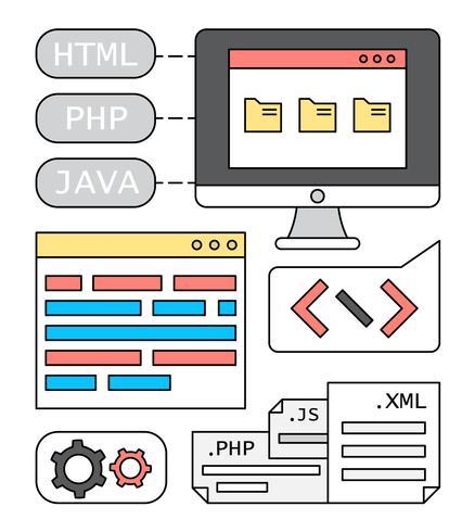 Gratis linjära webbutvecklingsvektorer
