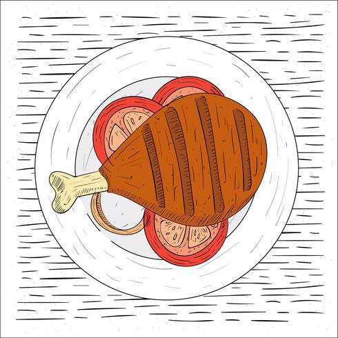 Ilustração de carne assada com desenhos desenhados à mão grátis