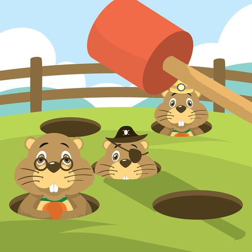 Whack a Mole Gopher Arkadspel Gratis Vector