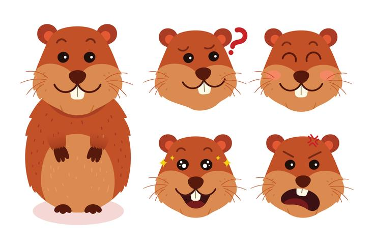 Gopher Cartoon Expressions vector